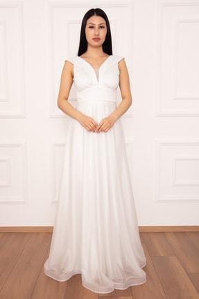 PULLIMM Ruby 13280 Simli Tül Uzun Elbise