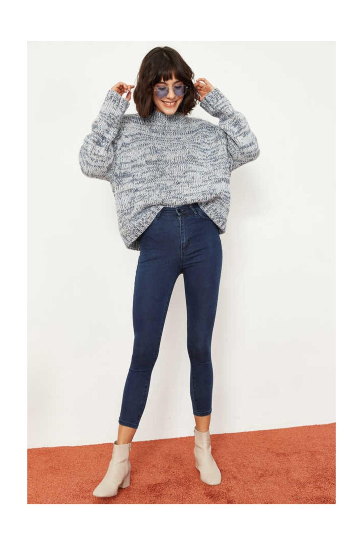 Bianco Lucci Kadın İndigo Likralı Yüksek Bel Skinny Jeans 2915864 1