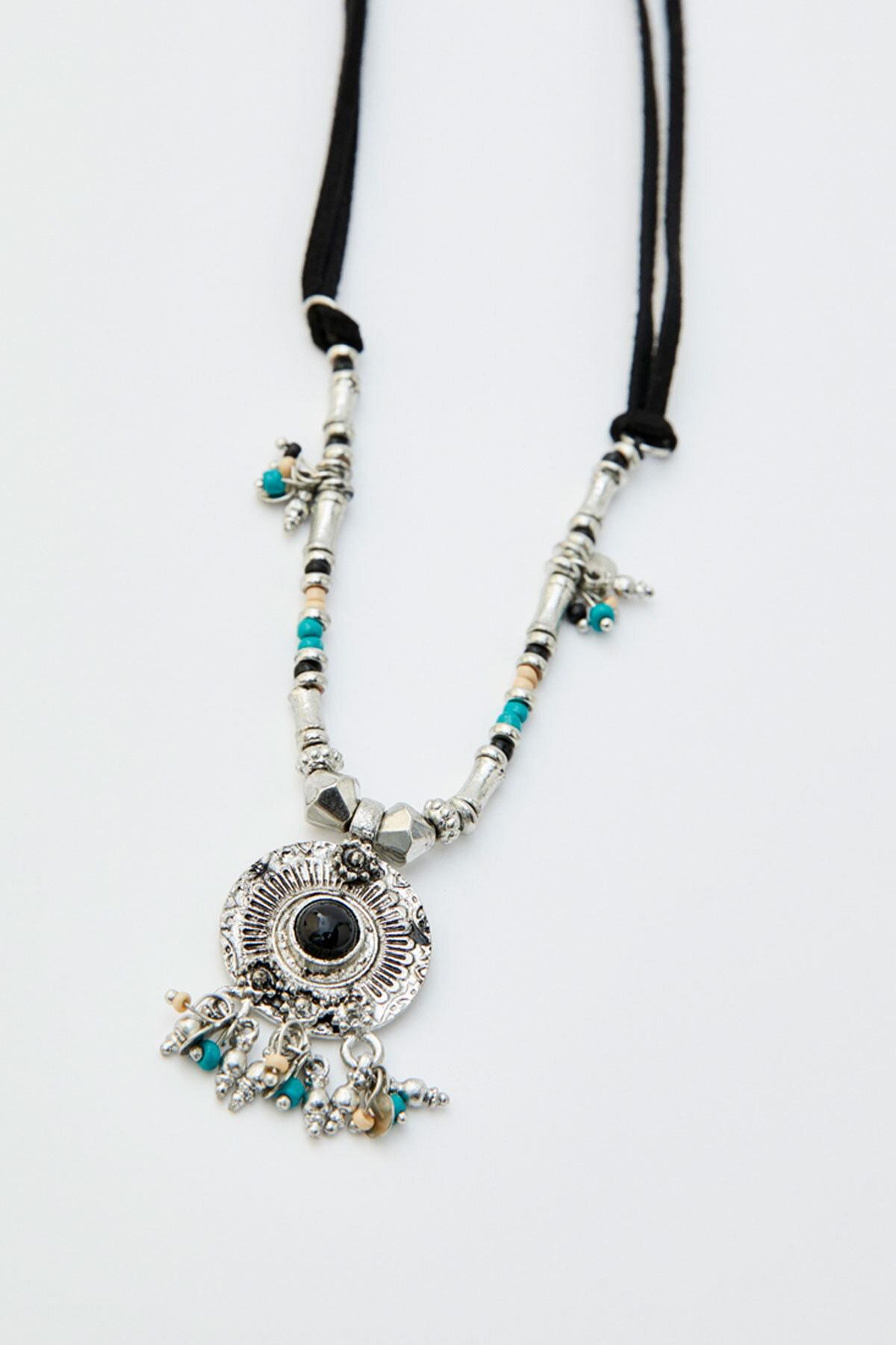 Pull & Bear Kadın Gümüş Madalyon Uçlu Siyah Zincir Kolye 05992397 2