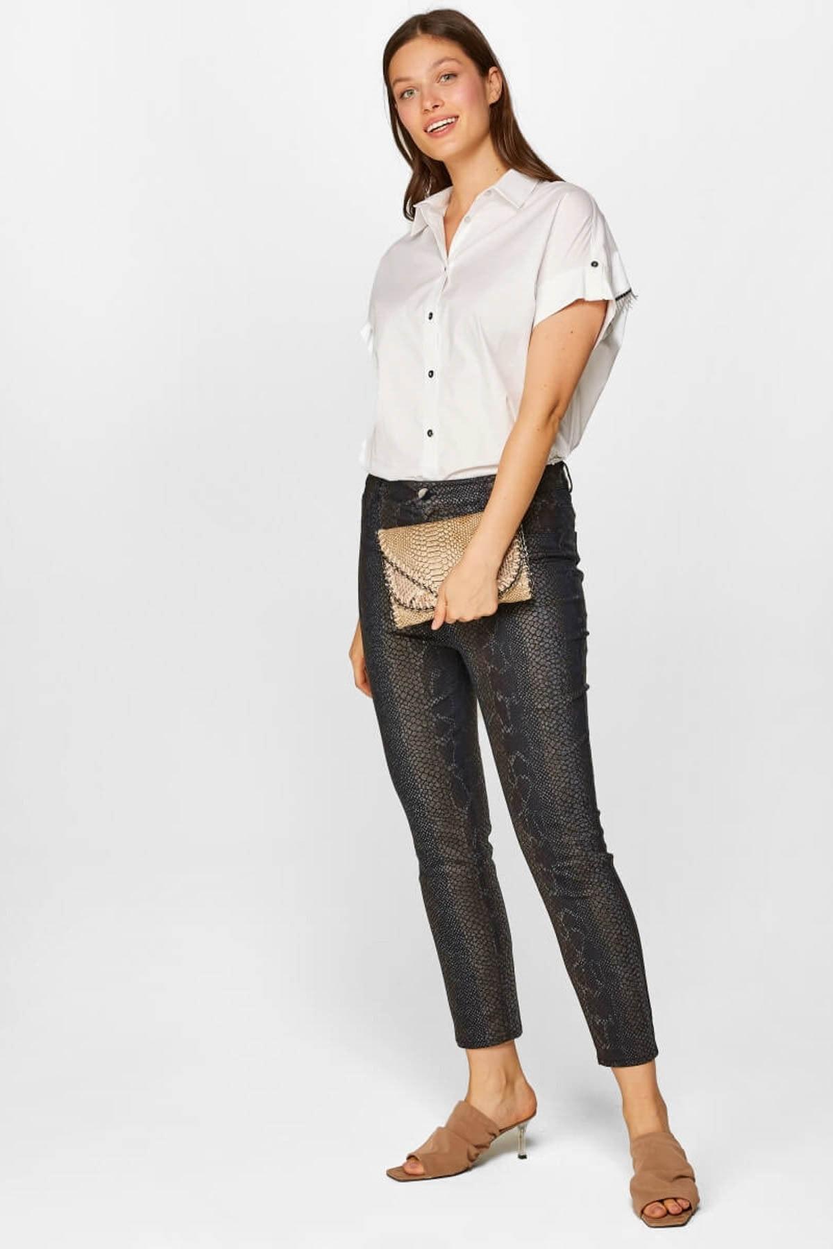 Faik Sönmez Kadın Siyah Slim Fit 5cep Yılan Desenli Pantolon 60573 u60573 1