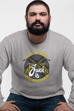 Angemiel Wear Jazz Ve Saksafon Gri Erkek Sweatshirt