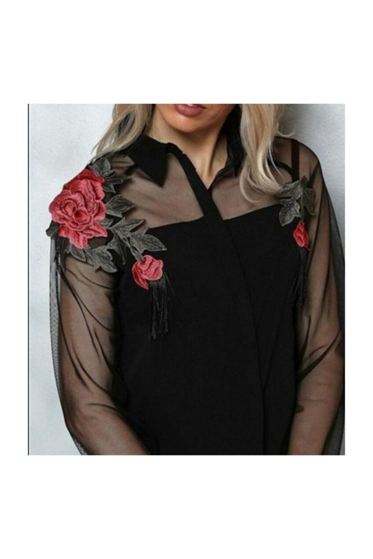 Jennyfer Gömlek ,gül Aplik Detaylı, Tül Uzun Kollu, Renk Siyah 1