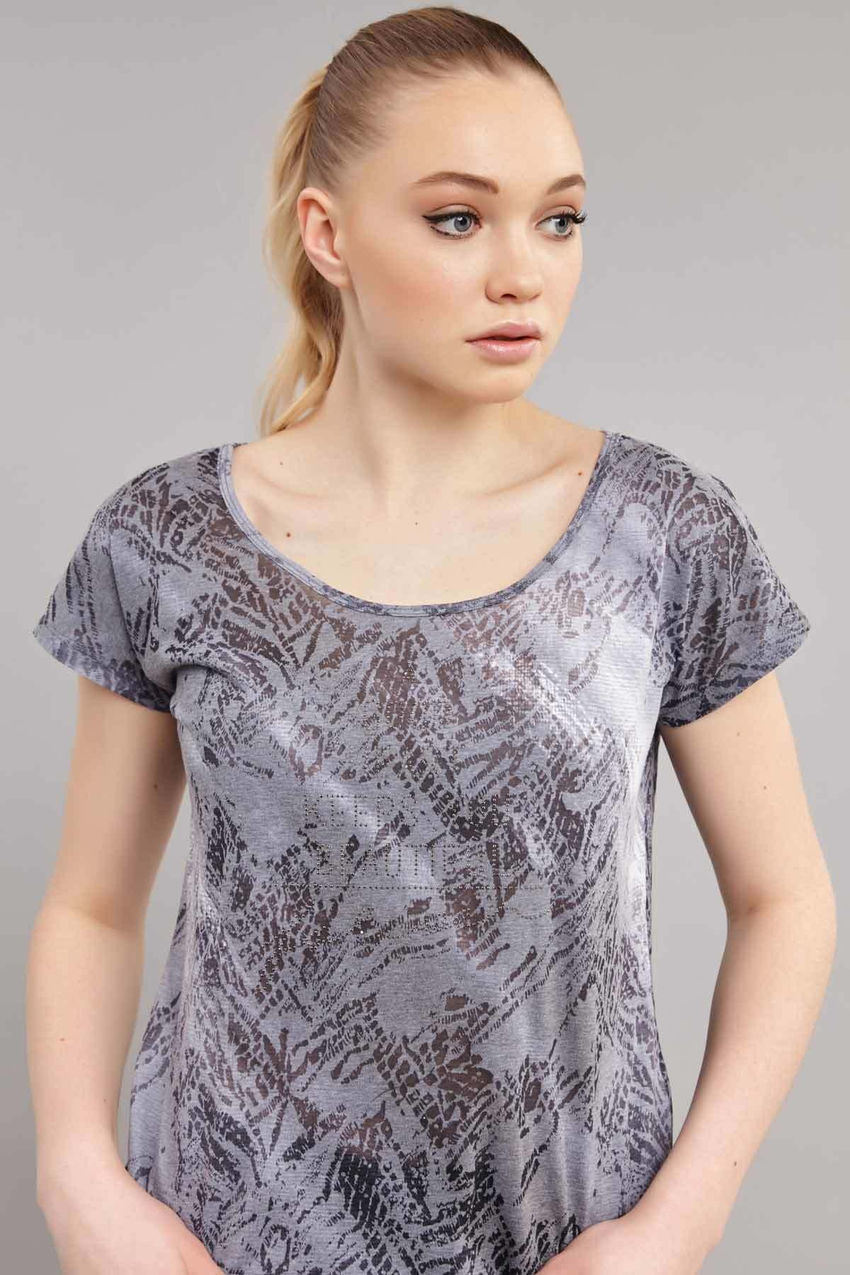 bilcee Likralı Pamuklu Kadın T-Shirt ES-3571 2