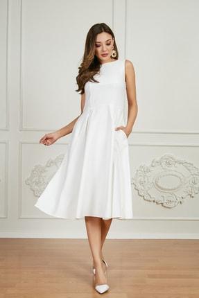 Sateen Kadın Beyaz Midi Kolsuz Elbise