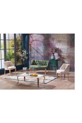 Vinda Mobilya Yeşil Krem Çay Seti Koltuk Salon Balkon Takımı  2+1+1
