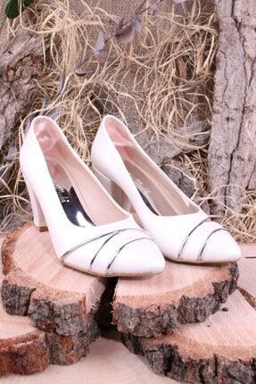 Cici Moda Kadın Sedef Gümüş Cilt Klasik Topuklu Ayakkabısı
