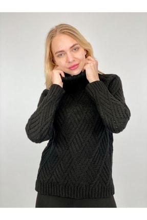 Miss Poem Kadın Siyah Balıkçı Yaka Kazak