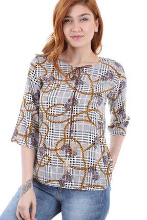Bigdart Kadın Pembe Desenli Yaka Biye Bağlamalı Bluz