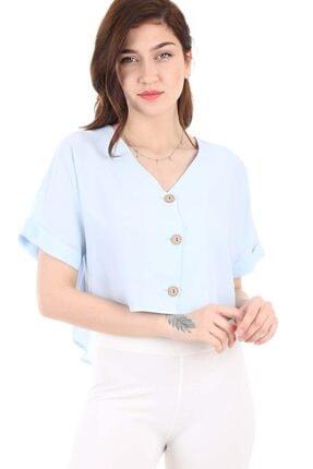 Bigdart Kadın Mavi Üç Düğmeli Salaş Bluz 3675