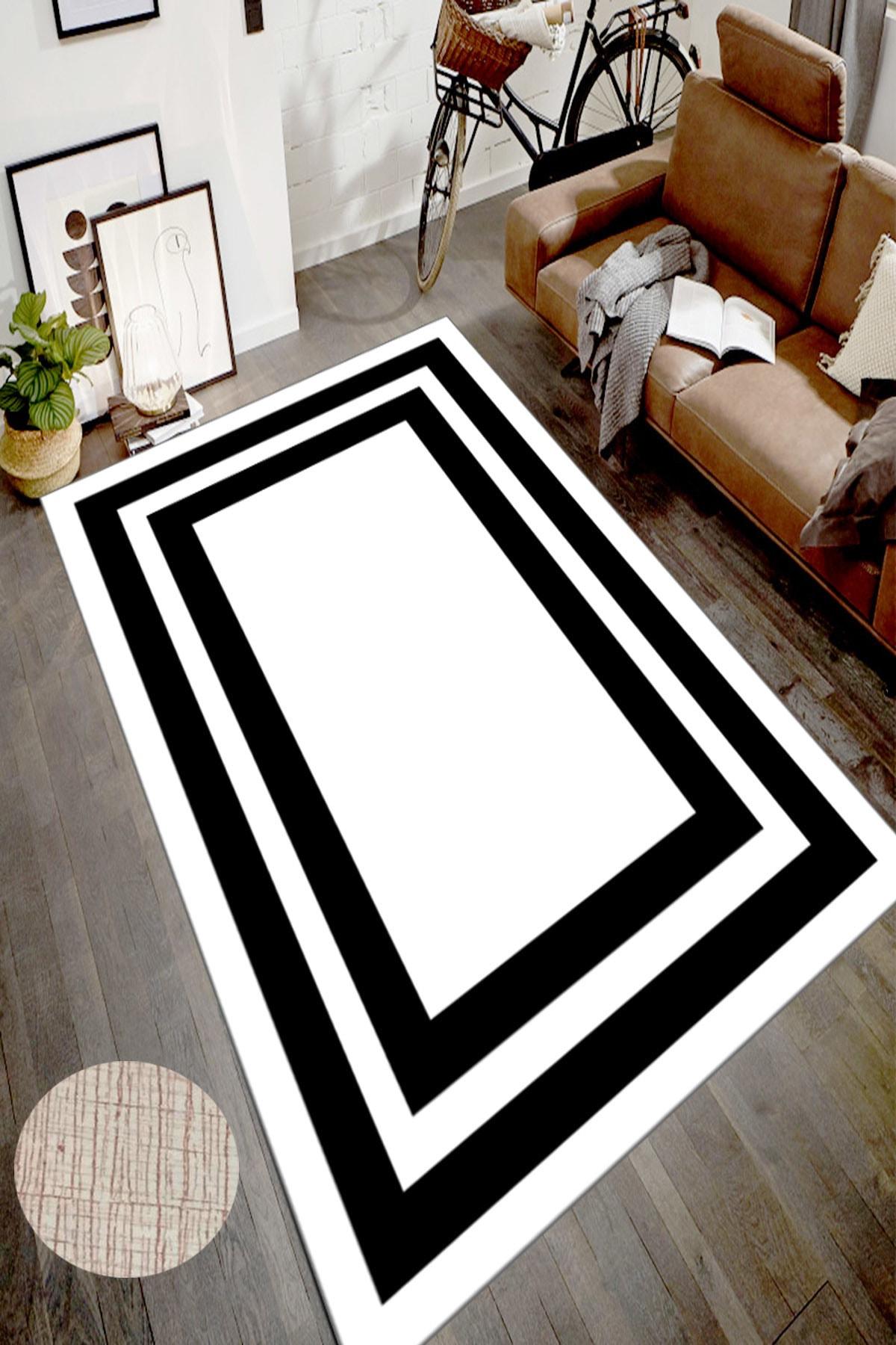CAPPİO HALI Dijital Baskı Siyah Beyaz Dekoratif Halı 2