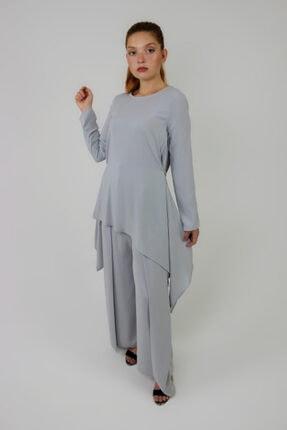 Loreen Kadın Gri Arkası Fermuarlı Tunik Pantolon İkili Takım