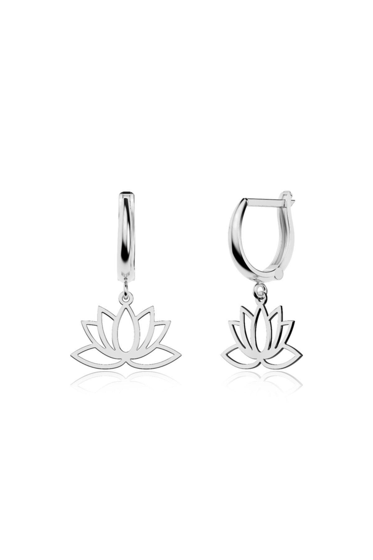 İNDİGO TAKI Sade Lotus Çiçeği Beyaz Gümüş Küpe 1