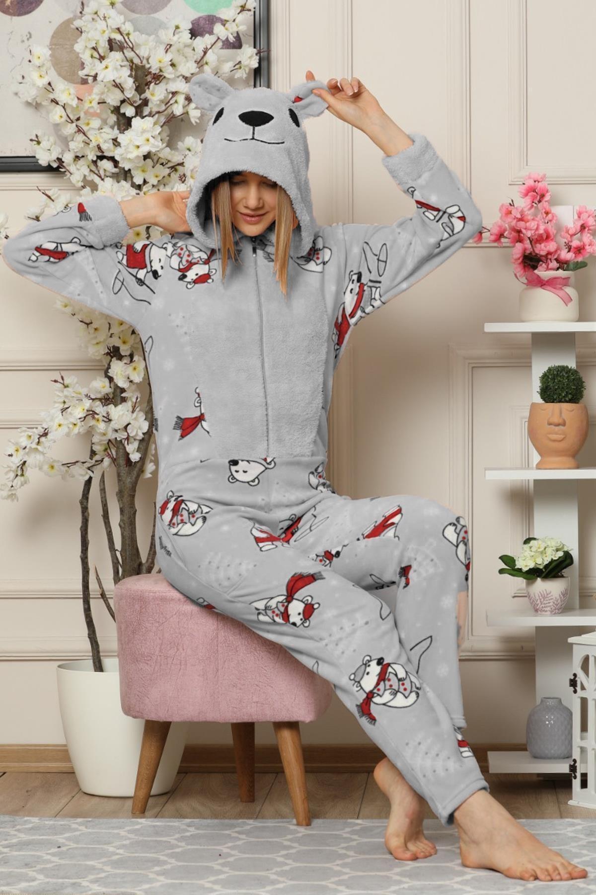 Pijamaevi Gri Bear Desenli Kadın Polar Peluş Tulum Pijama Takımı 2