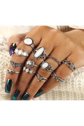 Pelin Aksesuar Kadın Çoklu Silver Yüzük Seti