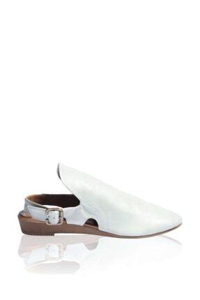 BUENO Shoes Kemerli Hakiki Deri Kadın Beyaz Düz Sandalet 9n7215