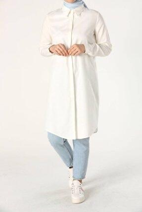 ALLDAY Kadın Ekru Gizli Patlı Gömlek Tunik