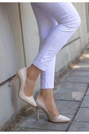 kendimarkan Kadın Krem Taylox Cilt Stiletto Ayakkabı