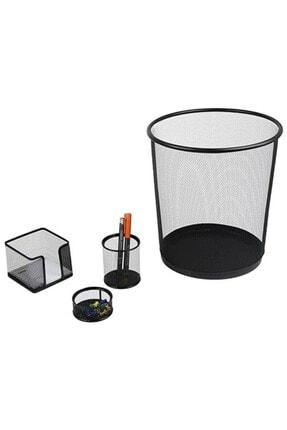 Globox Metal Ofis Seti 4 Lü Çöp K+kal+not+ataşlık
