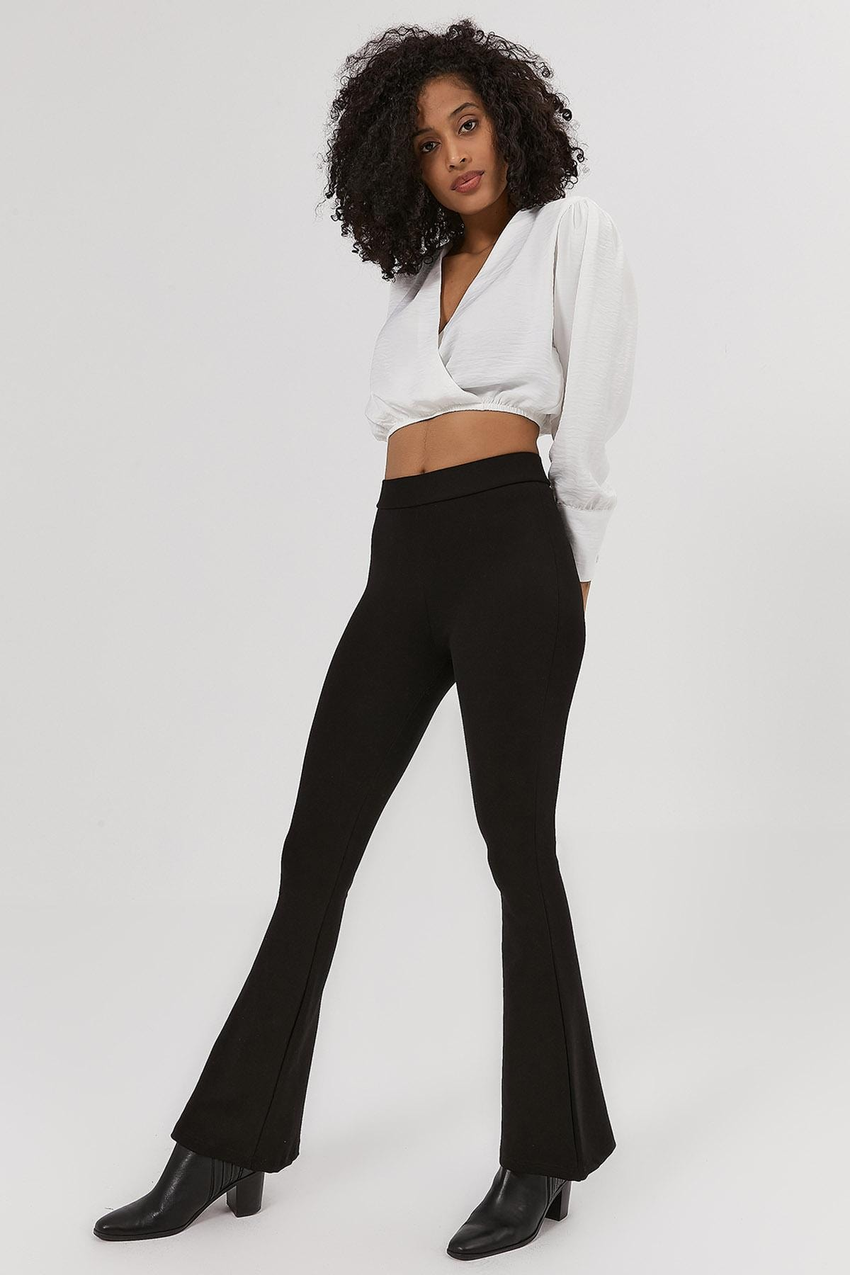 Y-London Kadın Siyah İspanyol Paça Örme Tayt Pantolon Y20W103-0185 2