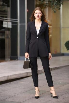 MANGOSTEEN Kadın Takım Elbise, Tek Düğmeli Uzun Ceket Ve Pantolon