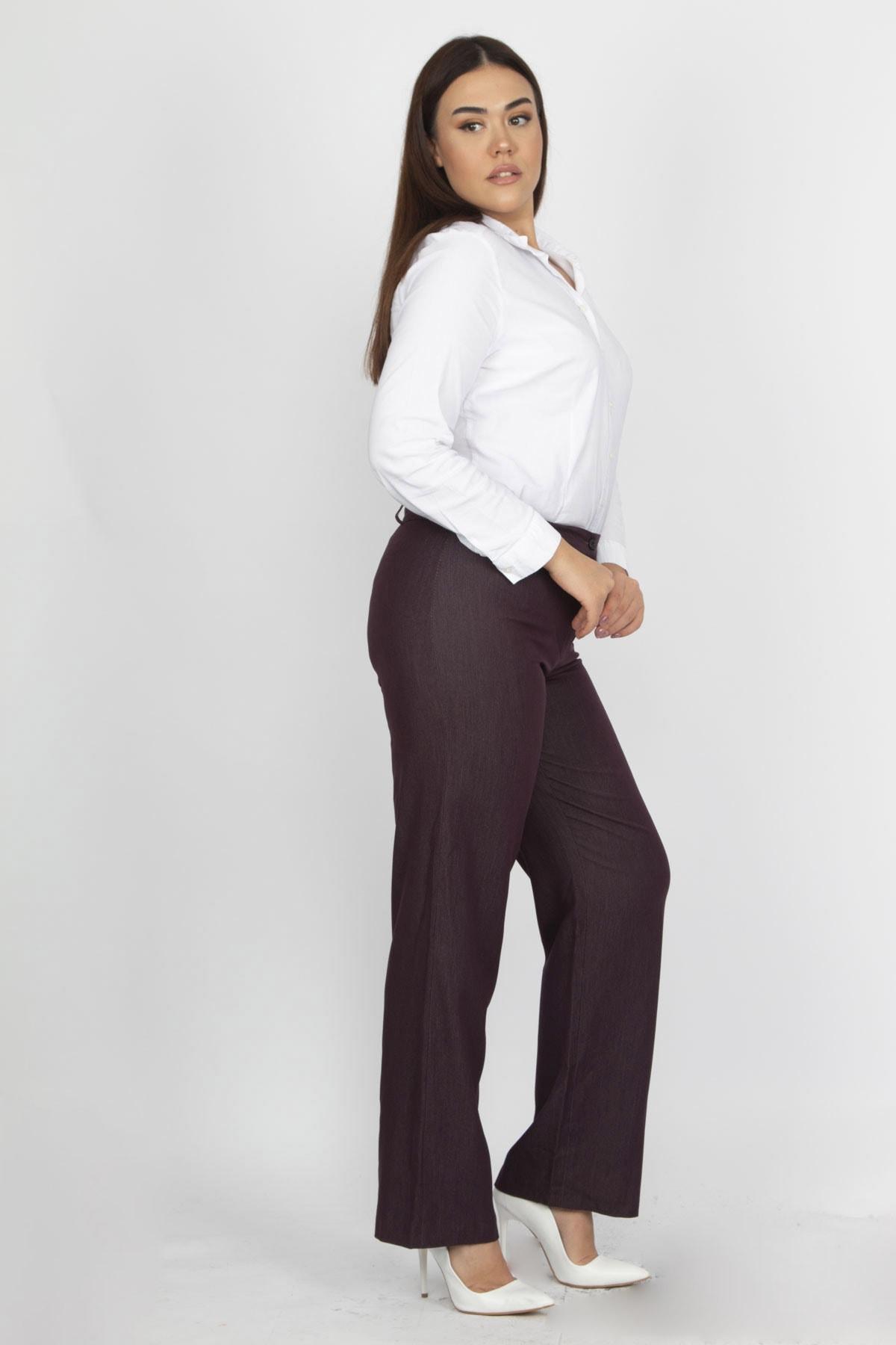 Şans Kadın Mürdüm Klasik Pantolon 65N19372 2