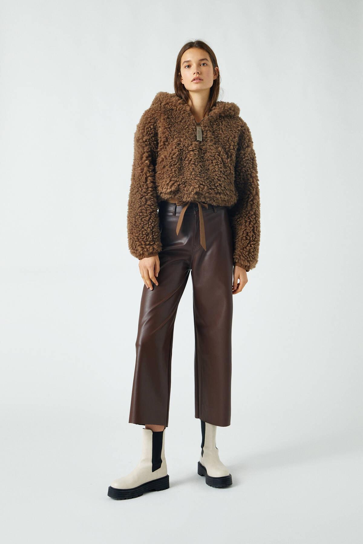 Pull & Bear Kadın Kahverengi Suni Deri Yüksek Bel Pantolon 09672329 1