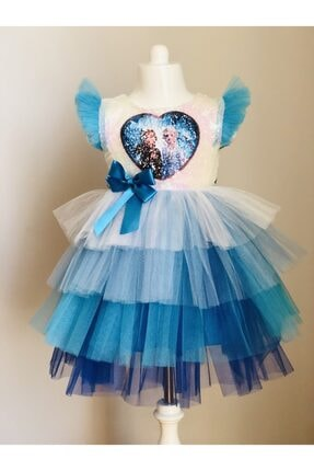 Buse&Eylül Bebe Kız Çocuk Elsa Pul Payet Tütü Etekli  Parti Elbisesi