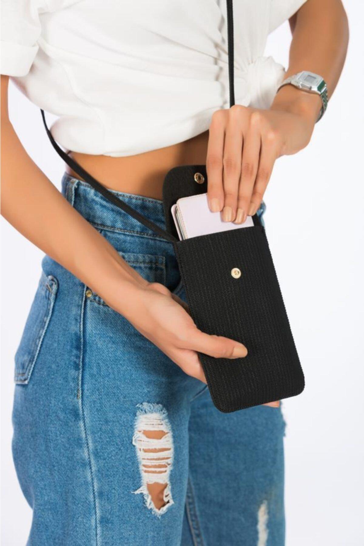 ESPARDİLE Kadın Siyah Kartlık Bölmeli Mini Çanta 2