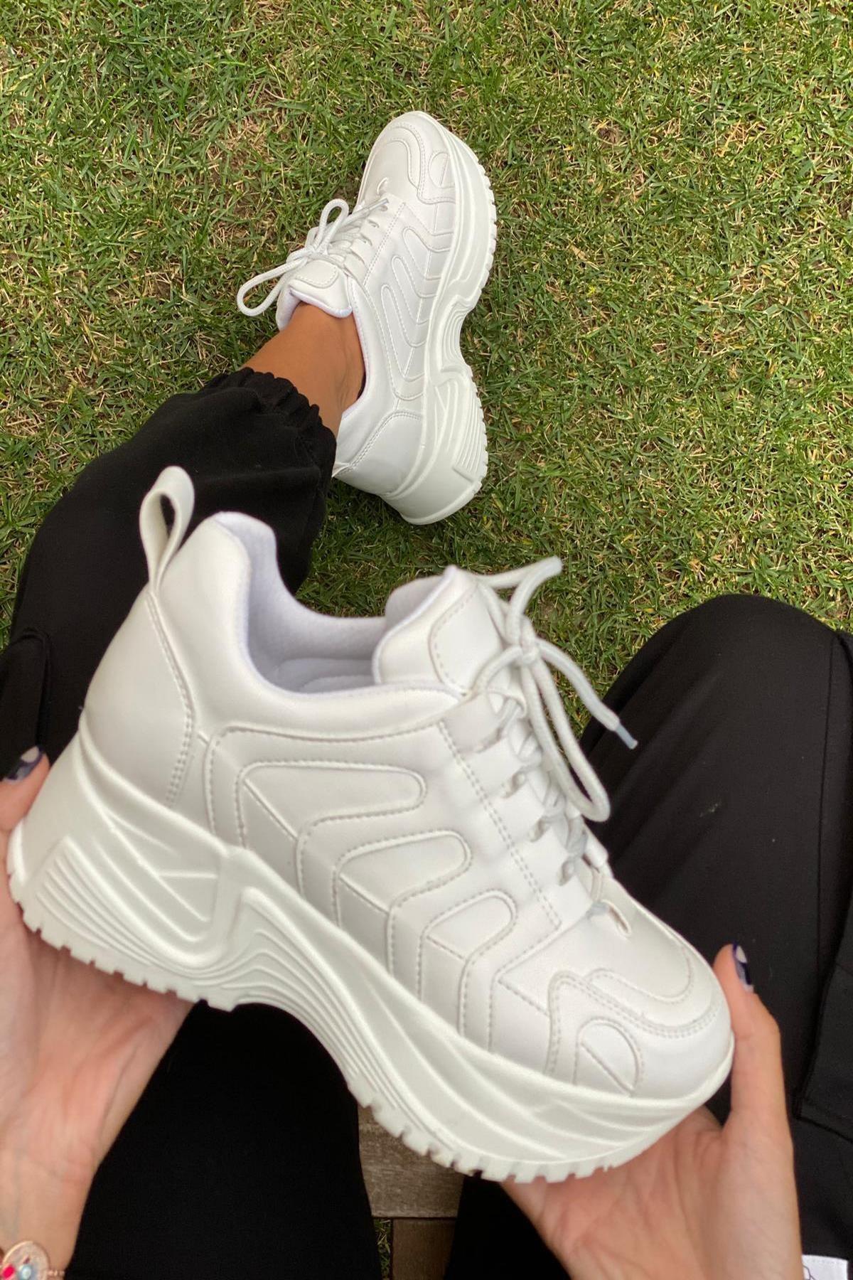 İnan Ayakkabı Kadın Beyaz Sneaker 2