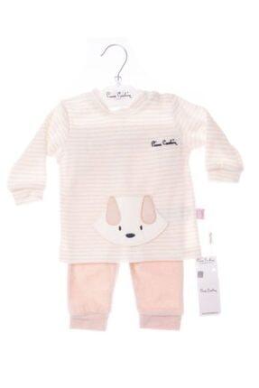 Pierre Cardin Baby Kız Çocuk Yavruağzı Kadife Çizgili Pijama Takımı