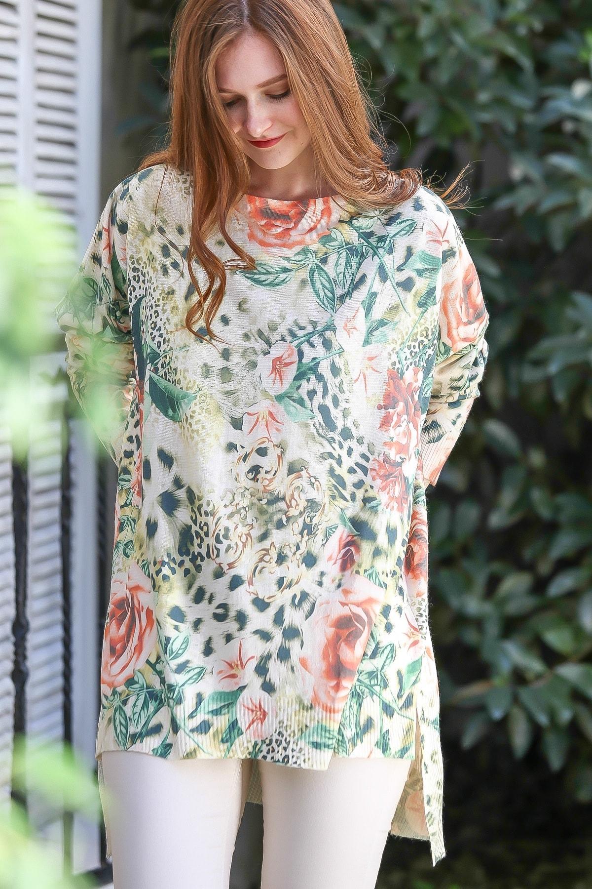 Chiccy Kadın Ekru-Yeşil Casual Leopar Gül Desenli Tunik Kazak M10010800KZ99447
