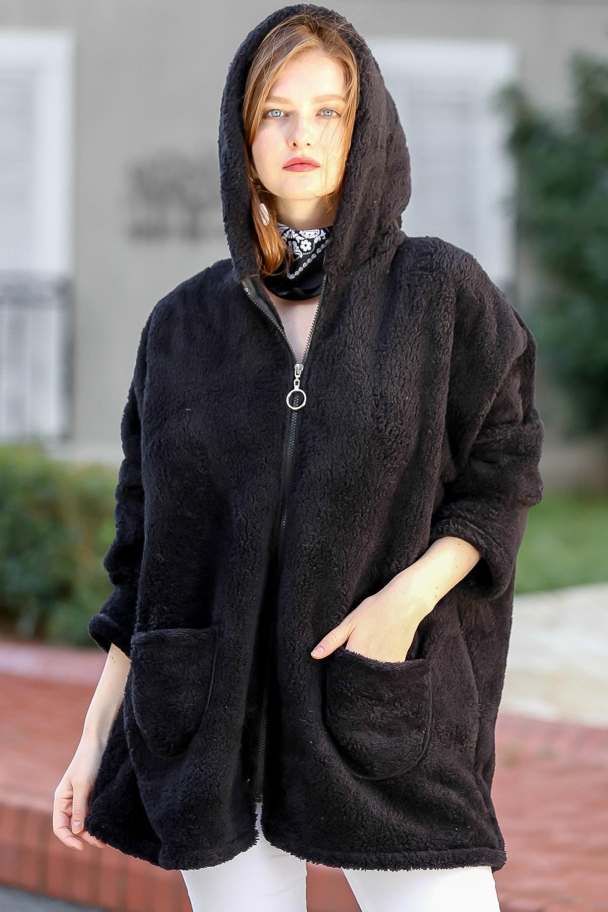 Chiccy Kadın Siyah Casual Kapüşonlu Cep Detaylı Polar Ceket M10210100CE99260