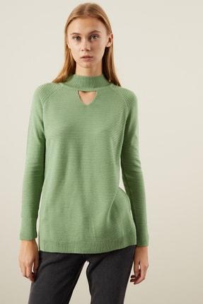 TENA MODA Kadın Mint Yeşili Önü Pencereli Boğazlı Triko Kazak