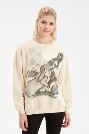 Rossa İntimo Kadın Ekru Bambi Baskılı Sweatshirt
