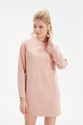 Rossa İntimo Kadın Gül Kurusu Yazılı Sweatshirt Elbise