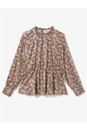 Koton Kadın Siyah Desenli Uzun Kollu Sal Desenli Bluz