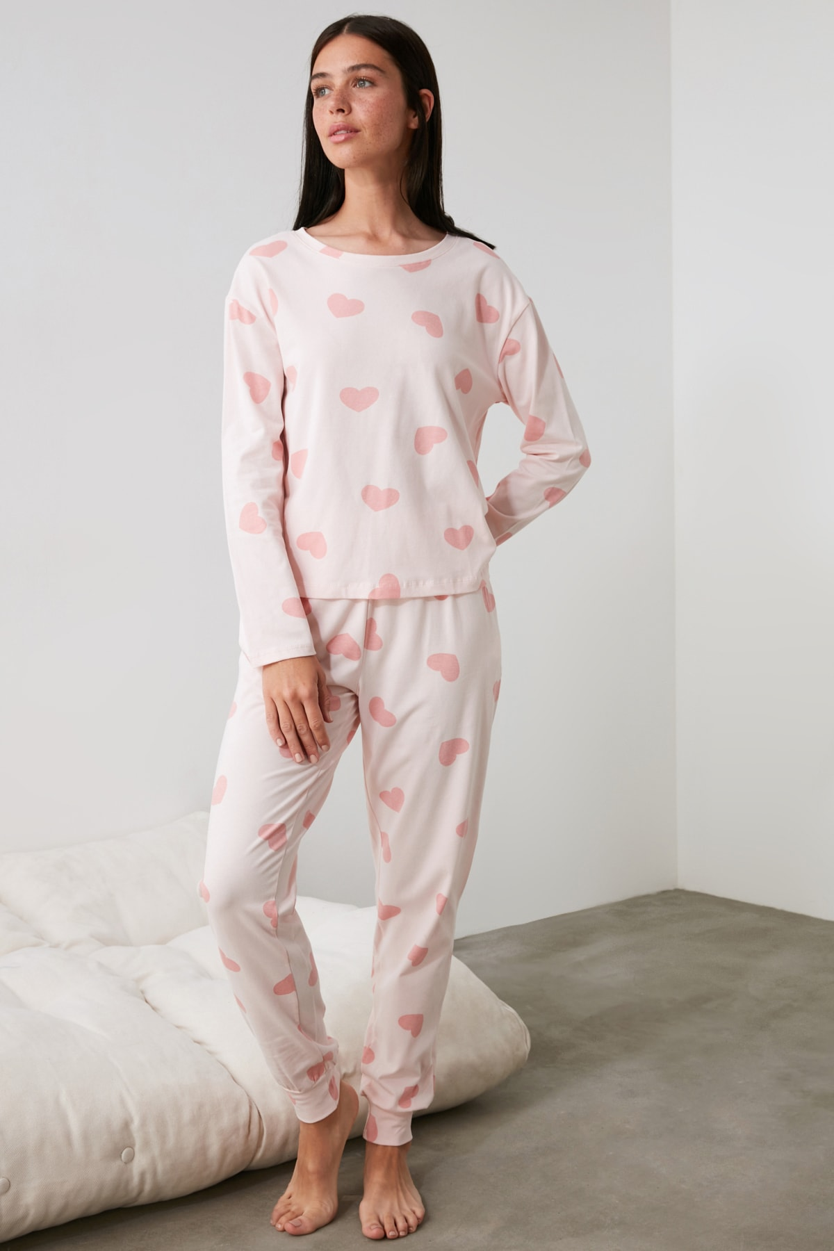 TRENDYOLMİLLA Kalpli Örme Pijama Takımı THMAW21PT0566 2