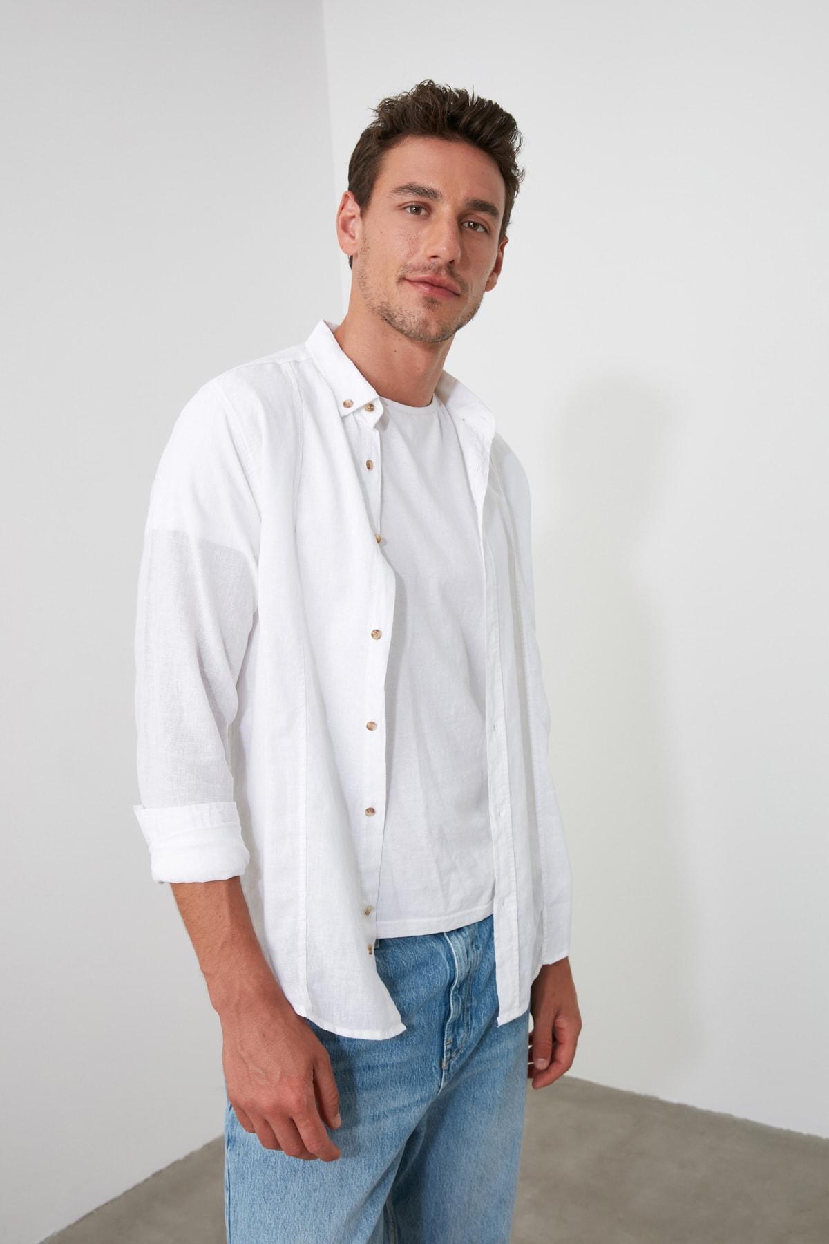 TRENDYOL MAN Beyaz Erkek Keten Gömlek TMNSS20GO0102 1