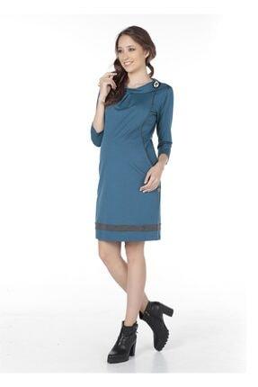 BUSA Hamile Günlük Mini Elbise Turkuaz