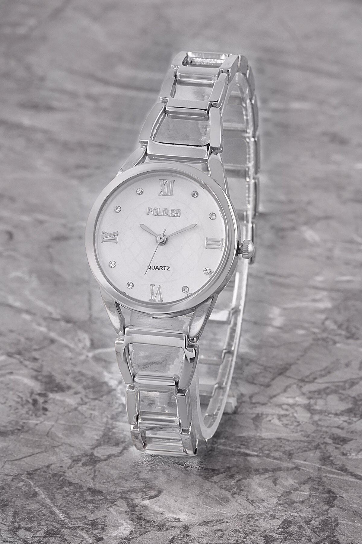 Polo55 Plkm001r04 Romen Rakamlı Taşlı Kadran,kadın Gümüş Kol Saati 1