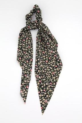 Pelin Aksesuar Siyah Tül Kumaşlı Çiçekli Fular Toka