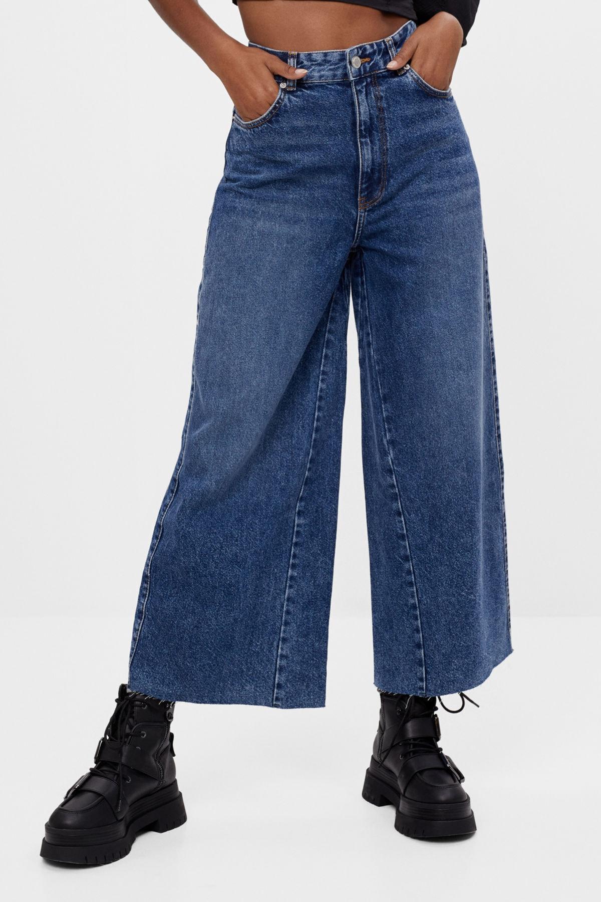 Bershka Kadın Lacivert Culotte Jean 1