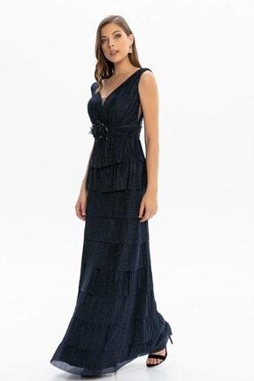Abiye Sarayı Kadın Lacivert Bel ve Göğüs Detaylı Kat Kat Uzun Abiye