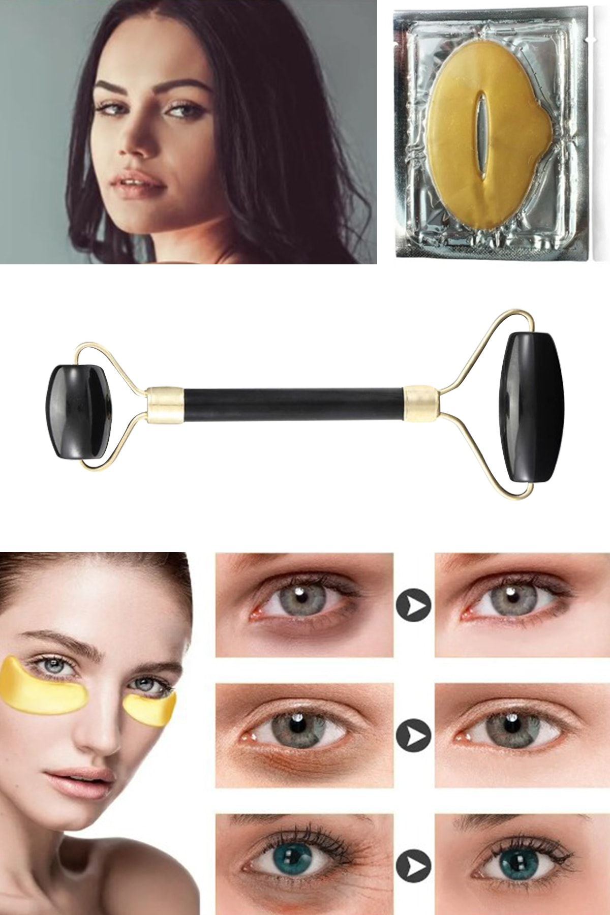 xolo Jade Roller Siyah Yeşim Taşı + Dudak Maskesi + Gözaltı Maske Kolajen 8297415579373 1