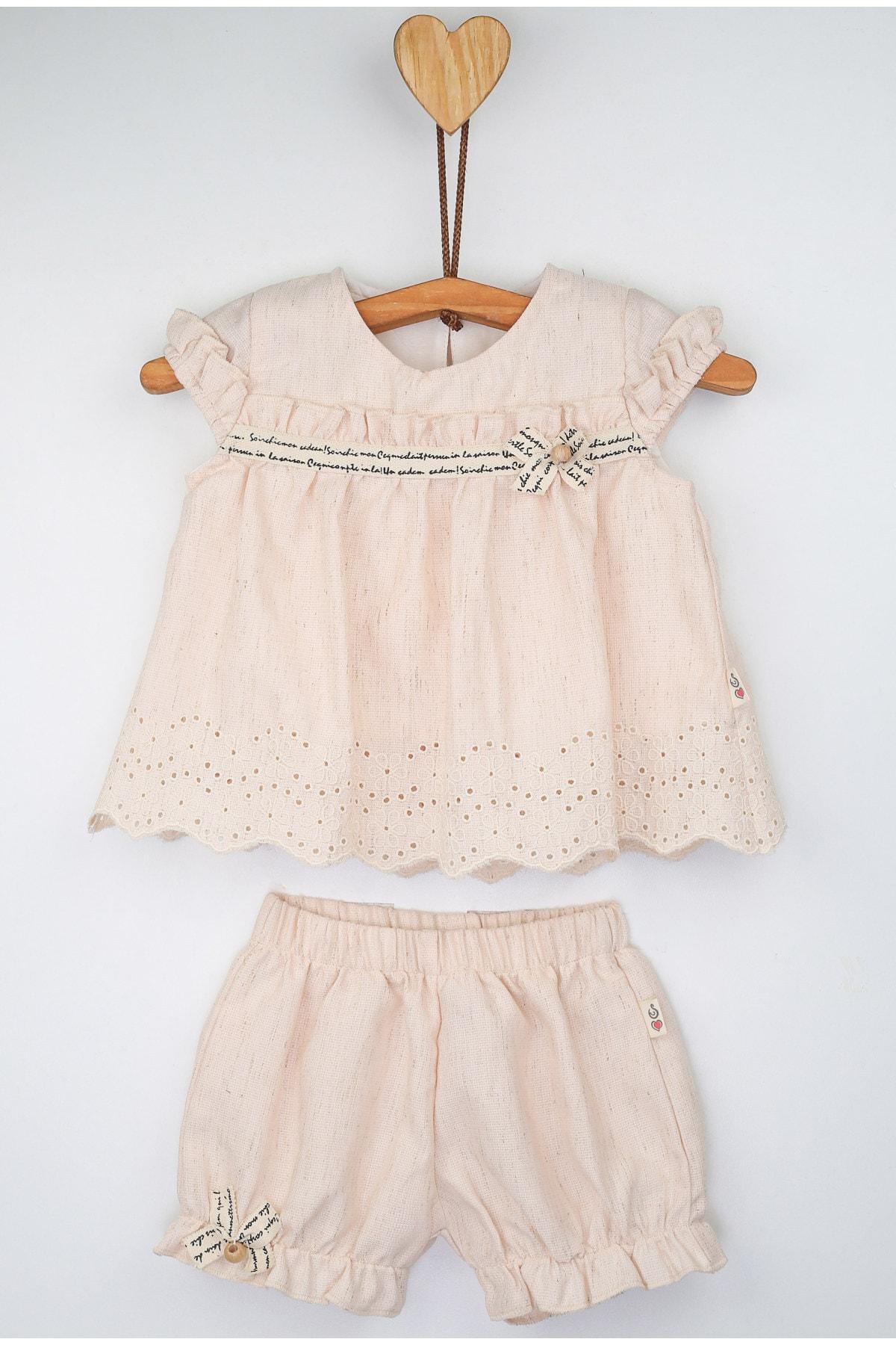 Lilax Brode Desenli Bluz Lastikli Şort Takım 1