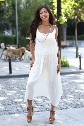 Womenice Kadın Ekru Krinkıl İnce Askı Elbise