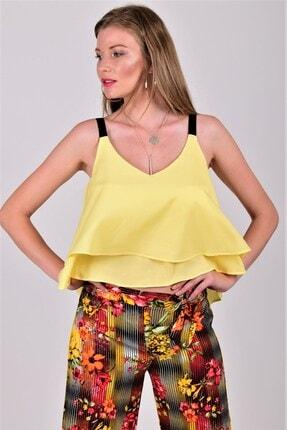 Womenice Kadın Sarı Askılı Bluz
