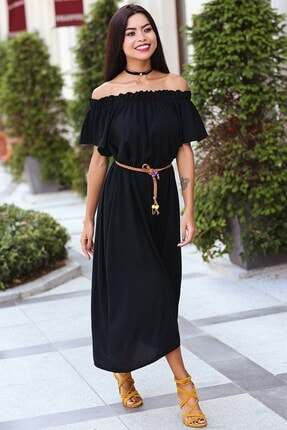 Womenice Kadın Siyah Madonna Yaka Viskon Elbise