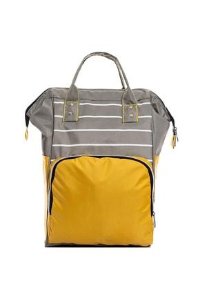 L&M LEGAS MODA Sarı Çizgili Gri Renk Bebe Çantası