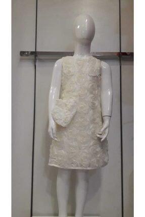 Bella Kız Çocuk Beyaz Parti Elbisesi